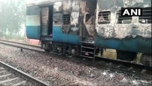 Following the blaze, the loco pilot immediately stopped the train and detached the particular bogie. This prevented the fire from spreading to other coaches.(ANI/Twitter)