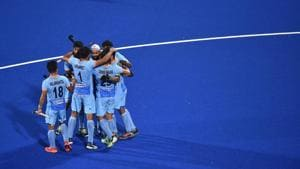 BHUBANESWAR, INDIA - NOVEMBER 28: Simranjeet Singh of India celebrates with teammates after scoring during the FIH Men's Hockey World Cup Pool C match between India and South Africa at Kalinga Stadium on November 28, 2018 in Bhubaneswar, India.(Getty Images for FIH)