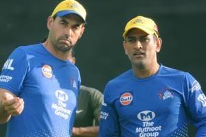 Chennai Super Kings Captain Mahendra Singh Dhoni and Coach Stephen Fleming(Anil Dayal/Hindustan Times)