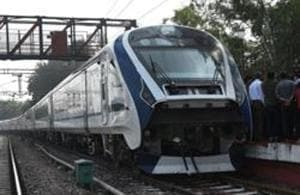 A view of the first Made-in-India engine-less train - named Train 18 at Safdarjung station, during its trial run in New Delhi.(Mohd Zakir/HT PHOTO)