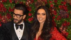 Actors Ranveer Singh and Deepika Padukone at their wedding reception in Mumbai on December 1, 2018.(IANS)