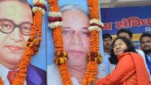 """BJP MP Savitri Bai Phule had earlier raised questions on BJP leaders dining at the houses of Dalits and had termed the founder of Pakistan Muhammad Ali Jinnah, """"a mahapurush"""" (great personality), causing embarrassment to her party.(PTI)"""