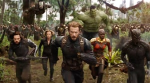 Captain America leads the charge in a still from the Avengers: Infinity War trailer.