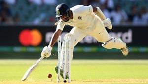 Cheteshwar Pujara of India is run out during day one of the First Test match in the series between Australia and India at Adelaide Oval on December 06, 2018 in Adelaide, Australia.(Getty Images)