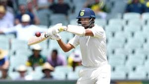 India's Cheteshwar Pujara plays a shot during day one of the first test match between Australia and India at the Adelaide Oval in Adelaide, Australia, December 6, 2018(REUTERS)