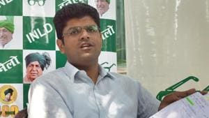 Hisar MP Dushyant Chautala on Sunday launched a new political outfit Jannayak Janta Dal at a rally in Jind, considered the political heartland of the state.(Sushil Kumar/HT File PHOTO)