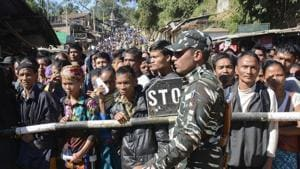 Mizoram assembly elections 2018: Internally displaced Bru Reang tribespeople wait to cross into Mizoram to cast their votes.(AFP file Photo)