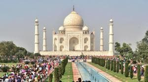 In yet another ticket hike at Taj Mahal this year, visitors from Monday will have to pay another Rs 200 to enter the main mausoleum, which houses replicas of Mughal emperor Shah Jahan and his wife Mumtaz Mahal's graves.(AFP)