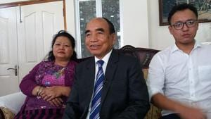 Mizo National Front chief Zoramthanga, who is set to return as Mizoram chief minister, at his home in Aizawl as the votes in the state assembly election were counted (HT Photo)(HT Photo)