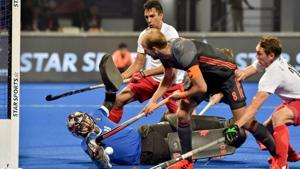 Netherlands' Captain Billy Bakker (in black) attempts a goal during their match against Canada, at the Men's Hockey World Cup 2018, in Bhubaneswar.(PTI)