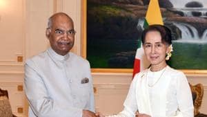 India's President Ram Nath Kovind meets with Myanmar State Counsellor Aung San Suu Kyi at the presidential palace in capital Naypyidaw on December 11, 2018.(AFP)