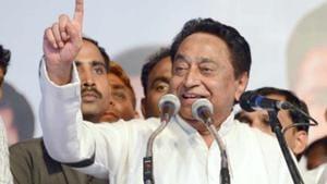 Senior Congress leader Kamal Nath addressing party workers in Jabalpur on Friday.(HT photo)