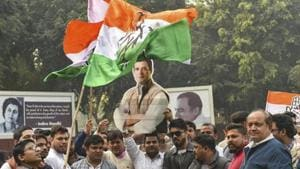 New Delhi: Congress party workers celebrate the party's good show in the Assembly elections of Rajasthan, Chhattisgarh and Madhya Pradesh, at AICC headquarters in New Delhi, Tuesday, Dec 11, 2018. (PTI File Photo)(PTI)