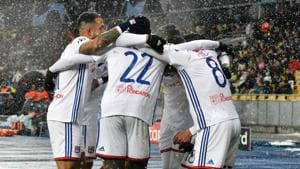 Lyon's players after the UEFA Champions League, Groupe F football match.(AFP)