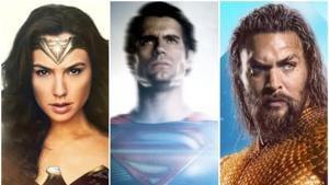 Gal Gadot, Henry Cavill and Jason Momoa as Wonder Woman, Superman and Aquaman in the DCEU.