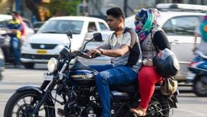 Safety during a bike drive is utmost necessary, and the reason behind most of the deaths due to two-wheeler's accidents on roads were because the riders did not wear the helmets(HT File)