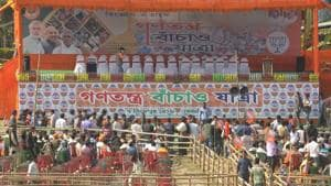 Empty chairs seen at a piece of agricultural land besides NH-31 at Jhinaidanga, decked up for Bharatiya Janata Party's rath yatra, in Cooch Behar, West Bengal, India, on Friday, December 07, 2018. The Calcutta High Court on Thursday denied permission to Bharatiya Janata Party's (BJP) to hold a rath yatra, which was to be flagged off by party president Amit Shah from Cooch Behar on Friday. (File Photo)(HT File Photo)