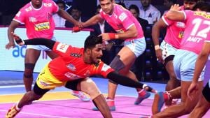 Gujarat Fortunegiants continued their fine form as they beat Jaipur Pink Panthers 34-29 in the Pro Kabaddi League.(Pro Kabaddi League.)