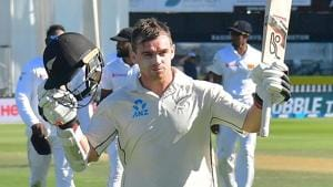 New Zealand's batsman Tom Latham walks back to the pavilion at the end of team's first innings with 264 runs during day three of the first Test cricket match between New Zealand and Sri Lanka.(AFP)