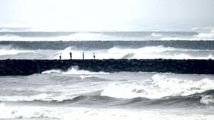 Heavy rains accompanied by squally winds lashed East Godavari, West Godavari, Krishna and Guntur districts of Andhra Pradesh since Sunday night as cyclone Phethai is set to make landfall around Monday afternoon in the state.(AFP)
