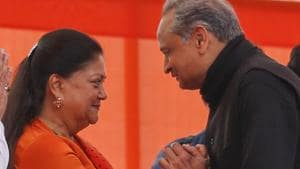 At Congress' swearing-in day, smiling Raje and Shivraj Chouhan are guests
