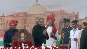 Rajasthan CM Ashok Gehlot on Tuesday ordered transfer of 40 IAS officials (File Photo)(HT Photo)
