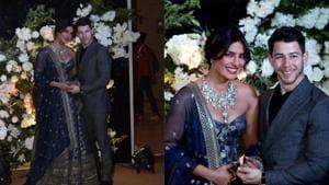 Priyanka Chopra and Nick Jonas at their reception.(PTI/IANS)