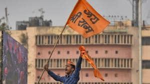 New Delhi, India - Dec. 9, 2018: Supporters of the Vishva Hindu Parishad (VHP) arrive to attend