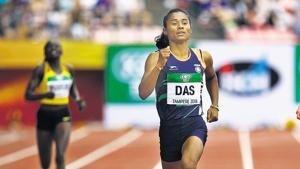 Hima Das in action during the women's 400m semi final on day two of the IAAF World U20 Championships in Finland.(Getty Images for IAAF)