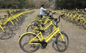 Inauguration of second phase of public Bicycle sharing (PBC) at SPPU University.(HT/PHOTO)