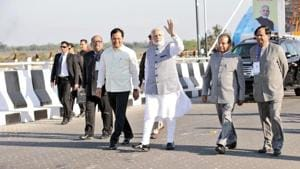 Prime Minister Narendra Modi today inaugurated the Bogibeel bridge, India's longest rail-cum-road bridge, connecting Assam's Dibrugarh on the south bank to Dehamji in the north.(Twitter/@CMOfficeAssam)