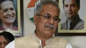 Bhupesh Baghel was sworn in with two other senior Congress leaders — TS Singhdeo and Tamrdhawaj Sahu — last Monday.(Arijit Sen/HT Photo)