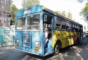 In order to increase the non ticket revenue PMPML will lease commercial spaces on their plots and will also use advertisements on buses. A bus with an advertisement is seen on Karve road.(Milind Saurkar/HT Photo)