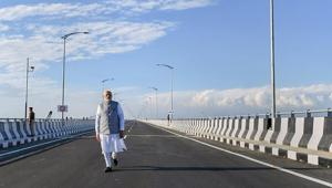 Prime Minister Narendra Modi strolls on the Bogibeel Bridge, the longest rail-cum-road bridge on Brahmaputra river, after it was inaugurated by him on December 25, 2018.(PTI file photo)