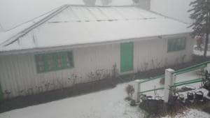The snowfall in Darjeeling town, Singamari, Ghoom, Jorbungalow and Sukhapokhari began around 4.30 pm on December 28.(HT Photo)