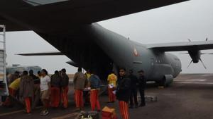 An Odisha team left on Friday morning in a special aircraft of the Indian Air Force with 20 high-power pumps to assist in rescue operation in Meghalaya for 15 miners trapped for past 16 days.(Photo courtesy Fire Department , Odisha)