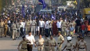 Thousands of Dalits gathered in Bhima Koregaon of Maharashtra's Pune district on Tuesday to mark the 201st anniversary of a British-era war as the administration threw a protective ring around the small village in an effort to avoid the repeat of the large-scale violence last year.(PTI File Photo)