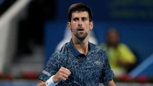 Serbia'sNovak Djokovic celebrates winning his second round match against Hungary's Marton Fucsovics.(REUTERS)