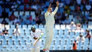 South Africa's Duanne Olivier celebrates a dismissal against Pakistan in the first Test.(REUTERS)