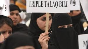 The triple talaq bill will be tabled in the Rajya Sabha on Wednesday after a united Opposition foiled the government's attempt to push it in the Upper House on Monday as it insisted on referring it to the select committee of Parliament.(Raj K Raj/HT PHOTO)