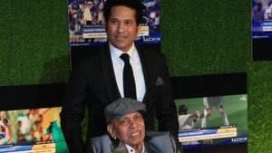File image - Sachin Tendulkar with Ramakant Achrekar during the premiere of his biopic 'Sachin: A Billion Dreams' in Mumbai, India, on Wednesday, May 24, 2017.(Hindustan Times)