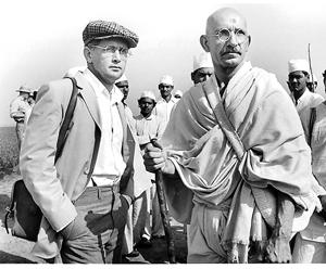Ben Kingsley and Martin Sheen in the film 'Gandhi' (1982). The author reminisces about watching the film as a high school student in America.(Getty Images)