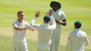 South Africa's Dale Steyn celebrates taking the wicket of Pakistan's Mohammad Abbas with team mates REUTERS/Mike Hutchings(REUTERS)