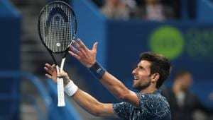 Novak Djokovic of Serbia reacts after winning against Marton Fucsovics of Hungary in the ATP Qatar Open tennis second round match in Doha on January 2, 2019(AFP)