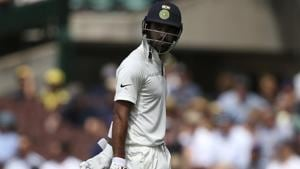KL Rahul walks off after he was caught in the slips for 9 runs against Australia.(AP)