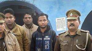Bulandshahr: Bajrang Dal activist Yogesh Raj, who was under arrested in connection with the murder of inspector Subodh Kumar Singh, in police custody in Bulandshahr(PTI)
