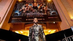76th Golden Globes Awards: Cast member Chadwick Boseman poses at the premiere of Black Panther in Los Angeles. The film is considered a groundbreaking nominee at the 2019 Golden Globes.(REUTERS)