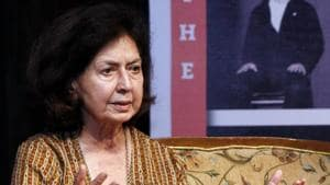 Author Nayantara Sahgal's invitation was withdrawn after protests from political groups including the Maharashtra Navnirman Sena (MNS), on inviting a writer in English to a Marathi literary meet.(HT FILE PHOTO)