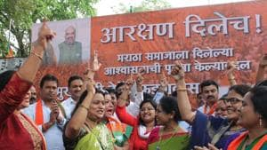 File photo of celebrations after the Maharashtra Assembly unanimously passed a bill proposing 16 per cent reservation for Maratha community.(HT Photo)