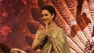 Kangana Ranaut at the music launch of her upcoming film Manikarnika: The Queen Of Jhansi.(IANS)
